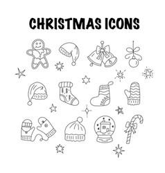 set of thin line christmas icons vector image