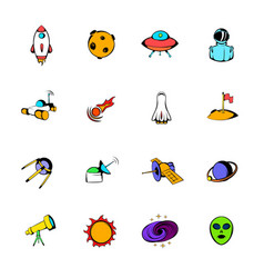 space icons set cartoon vector image
