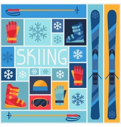 Sports background with skiing equipment flat icons vector image