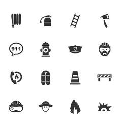 fire brigade icons set vector image