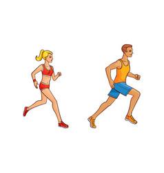 flat girl and man running vector image vector image