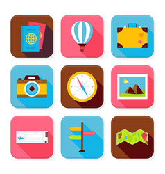 Flat travel and vacation squared app icons set vector
