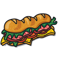 sandwich with lettuce and bacon vector image vector image