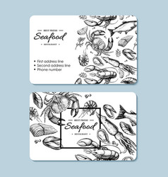 seafood hand drawn business card crab vector image
