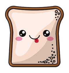 Bread with kawaii face design vector image vector image