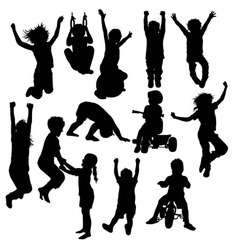 Children Plying Activity Silhouettes vector image vector image