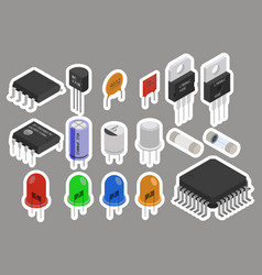 electronic components stickers vector image vector image
