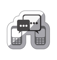 monochrome silhouette sticker of cell phones vector image