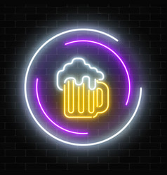 neon sign of mug of beer in circle frames on a vector image
