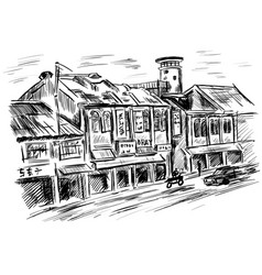rural landscape and houses - hand drawn vector image