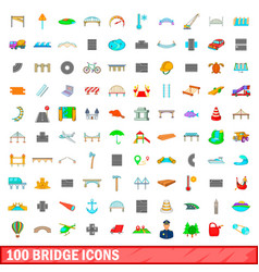 100 bridge icons set cartoon style vector