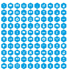 100 national flag icons set blue vector