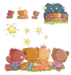 A group of teddy bears vector