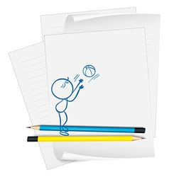 A paper with a drawing of a boy fetching a ball vector