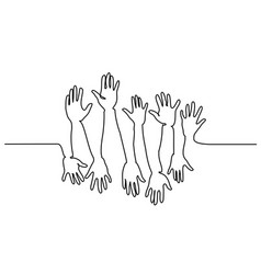 Abstract hands up continuous one line drawing vector