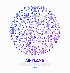 Airplane concept in circle with thin line icons vector