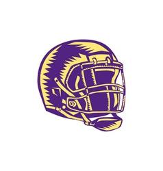 American Football Helmet Woodcut vector