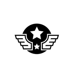 aviation military wings with star flat icon vector image