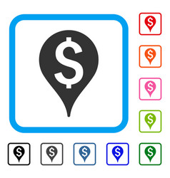 Bank map marker framed icon vector