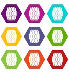 barrel icon set color hexahedron vector image