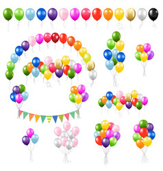 Big colorful set balloons isolated vector