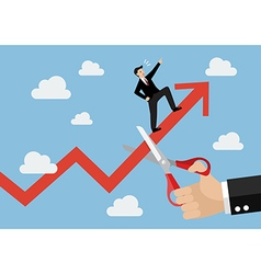 Big hand cutting growing graph of businessman vector