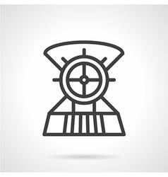 Boat steering wheel line icon vector image
