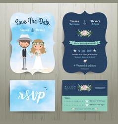 Bohemian cartoon couple on beach wedding card vector