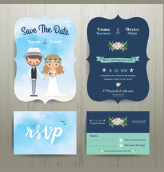 Bohemian cartoon couple on the beach wedding card vector