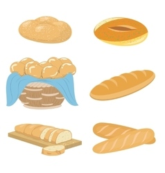 Bread and bakery icons set vector image