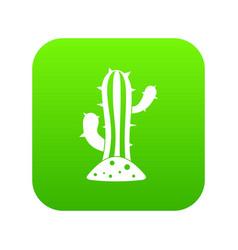 cactus icon digital green vector image