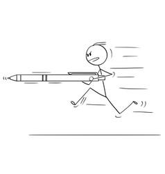 cartoon man or businessman running charging or vector image