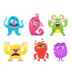 Cartoon monsters goblin gremlin troll scary cute vector