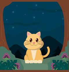 Cat cute animals cartoons vector