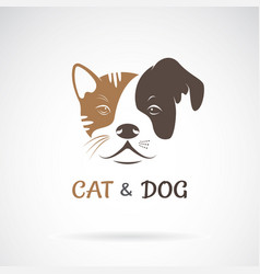 cat face and dog face design on a white vector image