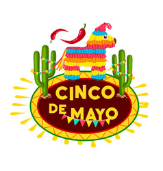 Cinco de mayo mexican fiesta party pinata icon vector