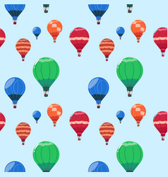 colorful air balloons baskets flying seamless vector image
