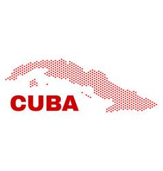 cuba map - mosaic of valentine hearts vector image