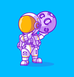 Cute astronaut with a moon icon vector