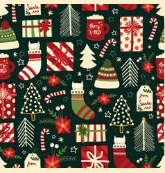 Cute christmas seamless background vector
