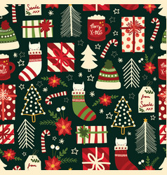 Cute christmas seamless background with vector