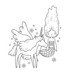 Cute mermaid with unicorn characters vector