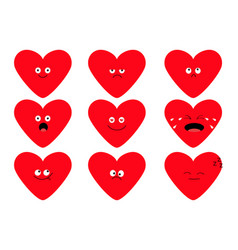 cute red heart shape emoji set funny kawaii vector image