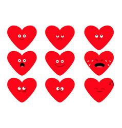 Cute red heart shape emoji set funny kawaii vector