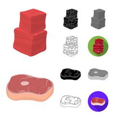 different meat cartoonblackflatmonochrome vector image