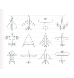 different types of plane icons vector image