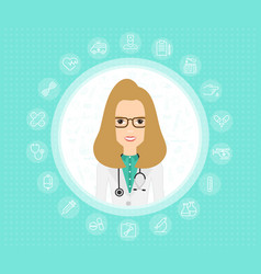doctor woman in medical gown with stethoscope vector image