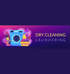 Dry cleaning and laundering concept banner header vector