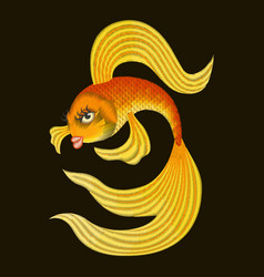 embroidery gold fish from a fairy tale vector image