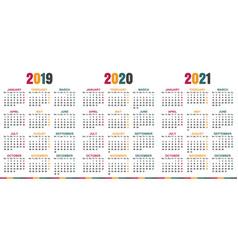 english calendar 2019 - 2021 vector image